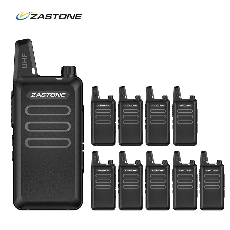 10pcs Professional Mini Walkie-Talkie Zastone UHF Handheld Long Range 2 Way Ham Radio Small Portable Ham Radio Communicator