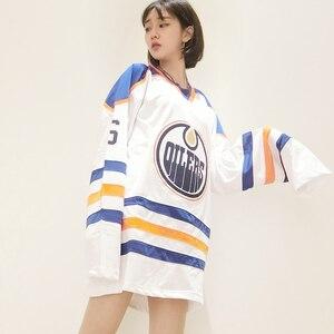 Image 4 - V คอ Justin Bieber OILERS Vintage จำนวน 6 เย็บปักถักร้อยผู้หญิงแฟชั่นสีฟ้าและสีขาวลายแขนเสื้อ