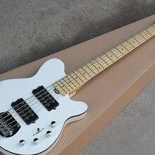 Заводская белого цвета, доступен в 5-строка электрическая бас-гитара с кленовым грифом, Chrome оборудования, клен шеи, предложение по индивидуальному заказу