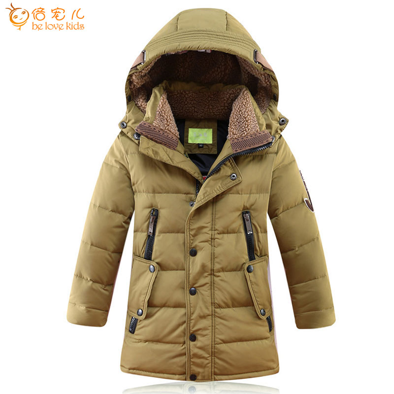 2016 Children Winter Jackets for Boys White Duck Down Jackets Thick Warm Outerwear with Hooded Long Children's Coat DQ037