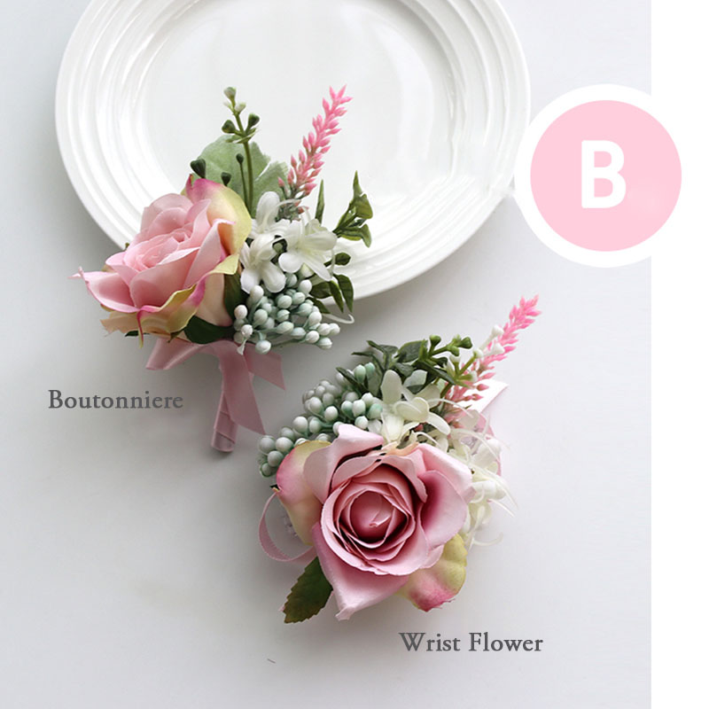 pink wrist corsage boutonniere wedding  (14)