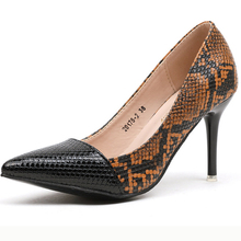 XZ014 Pumps Snakeskin Women High Heels Lady Shoes Patchwork PU Leather Pointed Women Shoes Sexy Thin High Heels Shallow Pumps xz026 women pumps high heels fashion women shoes sexy women heels lady shoes women sexy pointed toe thin high heels women pumps