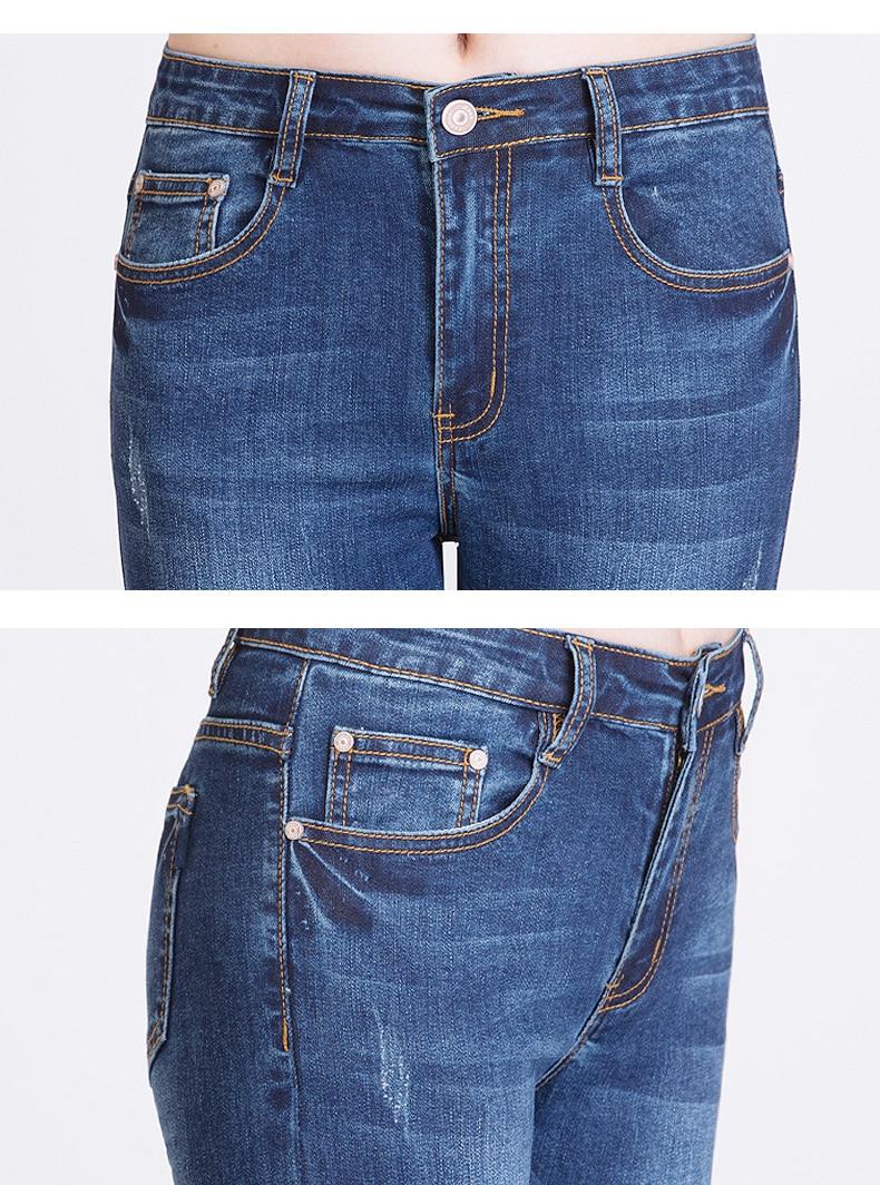 KSTUN FERZIGE Women's Jeans High Waist Stretch Slim Fitness Jeans Woman Embroidery Femme Pencils Denim Pants Blue Push Up Sexy Lady 19