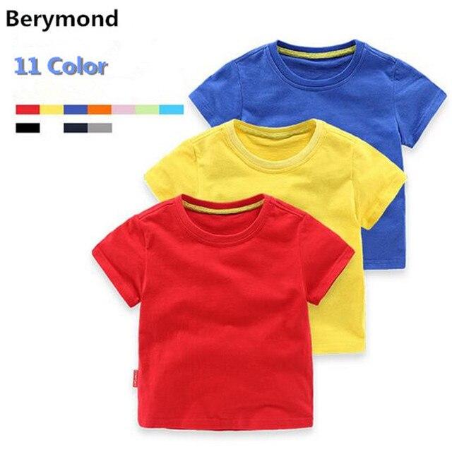 49cbc2c7d80b Berymond Children 2017 Summer New Coming Boy Solid Colorful Cotton Short  Sleeve T-Shirt Basic