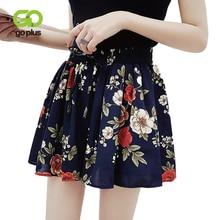 GOPLUS Summer Shorts Womens Vintage Casual Chiffon Print Floral Loose Leg Women High Waist Shorts Spodenki Damskie Short Pants high waist thin flower print womens shorts