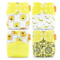 Happyflute HOt Sale OS Pocket Diaper 4pcs Set Washable Reusable Baby Nappy New Print Adjustable