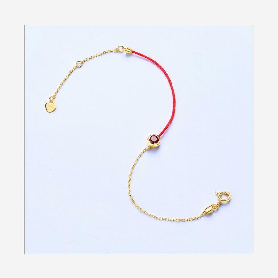 New 925 sterling silver garnet red rope bracelet girl jewelry J0173 in Bracelets Bangles from Jewelry Accessories