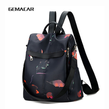 Casual Womens Backpack Large Capacity Oxford Cloth With Flowers Female Classic Anti-theft Knapsack Black Waterproof