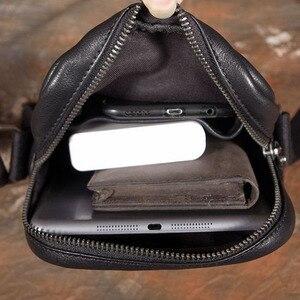 Image 4 - AETOO بسيطة صغيرة عليقة هاتف محمول حقيبة صغيرة crossbody حقيبة كتف الرجال حقيبة جلدية الطبقة الأولى غير رسمية