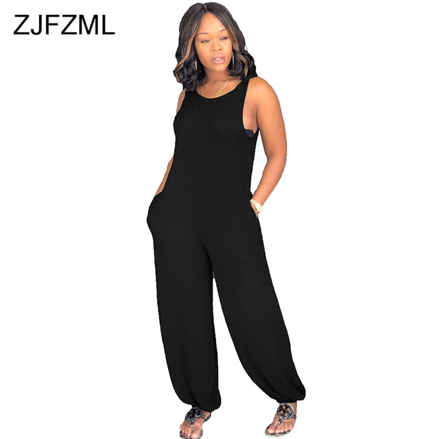 b998ba8f221 ZJFZML Bow Spaghett Strap Sexy Rompers Women Jumpsuit Scoop Neck Sleeveless  One Piece Overall Summer Pockets Loose Long Playsuit
