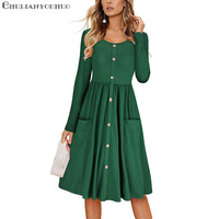 Pocket Long Sleeve Dress Women Autumn Winter Long Ladies Casual Office Black Red Green Button Fashion Formal Dress Elegant