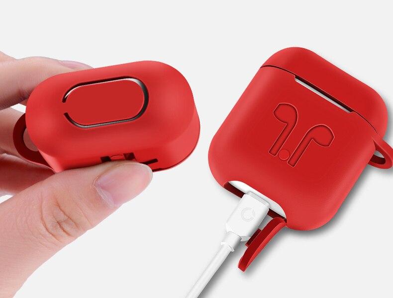 Image 2 - 50 шт. мягкий силиконовый защитный кожух для Apple Airpods зарядный чехол портативные тонкие чехлы с брелком air Pods сумочка-in Сумки и чехлы для плееров MP3/MP4 from Бытовая электроника