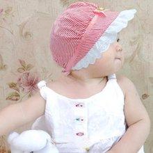 New Summer Lace font b Baby b font Girls Cotton Flower Stripe Cap Kids Flower Sun