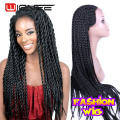 "Heat Resistant Synthetic Braiding Hair Wig 26"" Long Lace Frontal Wig Hand Braided Micro Box Frontal Lace Wigs Sexxy Female Wig"