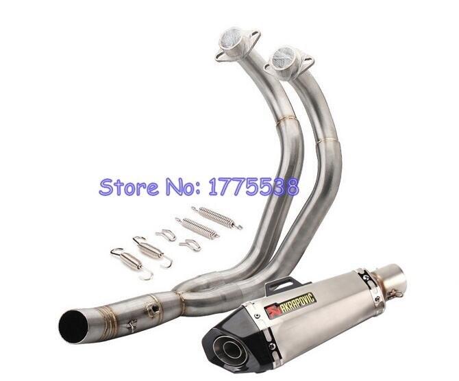 Pour Yamaha MT07 FZ07 XSR700 moto d'échappement système complet en-tête tuyau + Akrapovic forMT-07 d'échappement FZ07 Tracer 14-18 XSR700 16-17