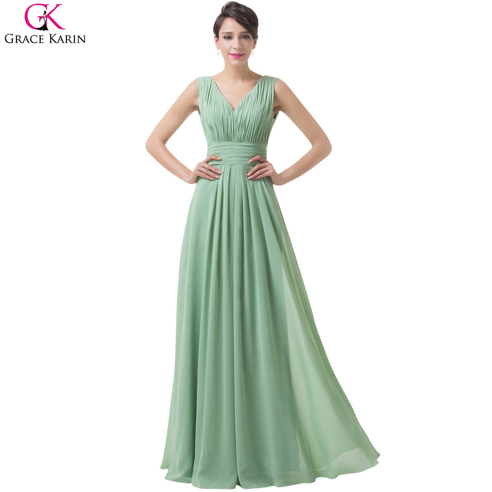 Grace karin long evening dress 2017 mint green chiffon for Long dresses for wedding party