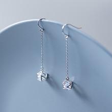 MloveAcc 925 Sterling Silver Long Geometry Charm Dangle Earrings for Women Shiny CZ Zircon Drop Earrings Girls Lady