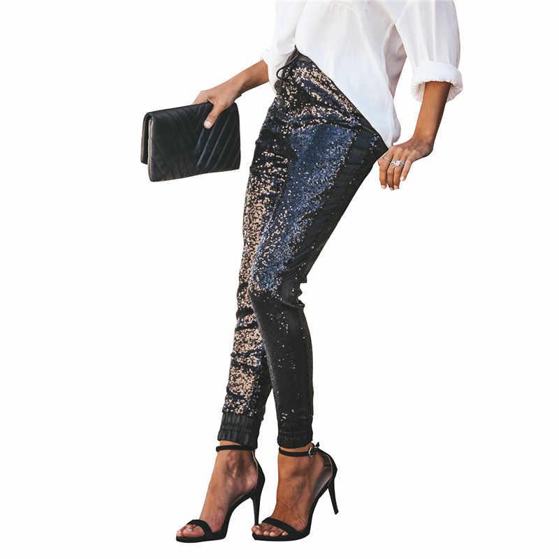 Echoine Женские модные длинные узкие брюки с пайетками эластичная искусственная кожа с высокой талией на шнурке черные вечерние женские брюки уличная одежда