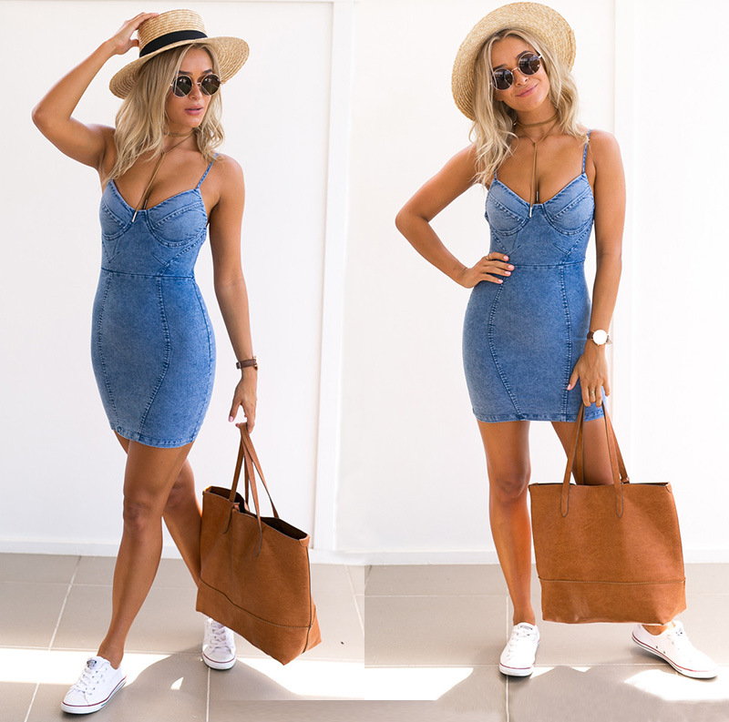Sexy backless 2017 denim dress Women vintage bodycon summer dress Beach party short dresses casual blue vestidos