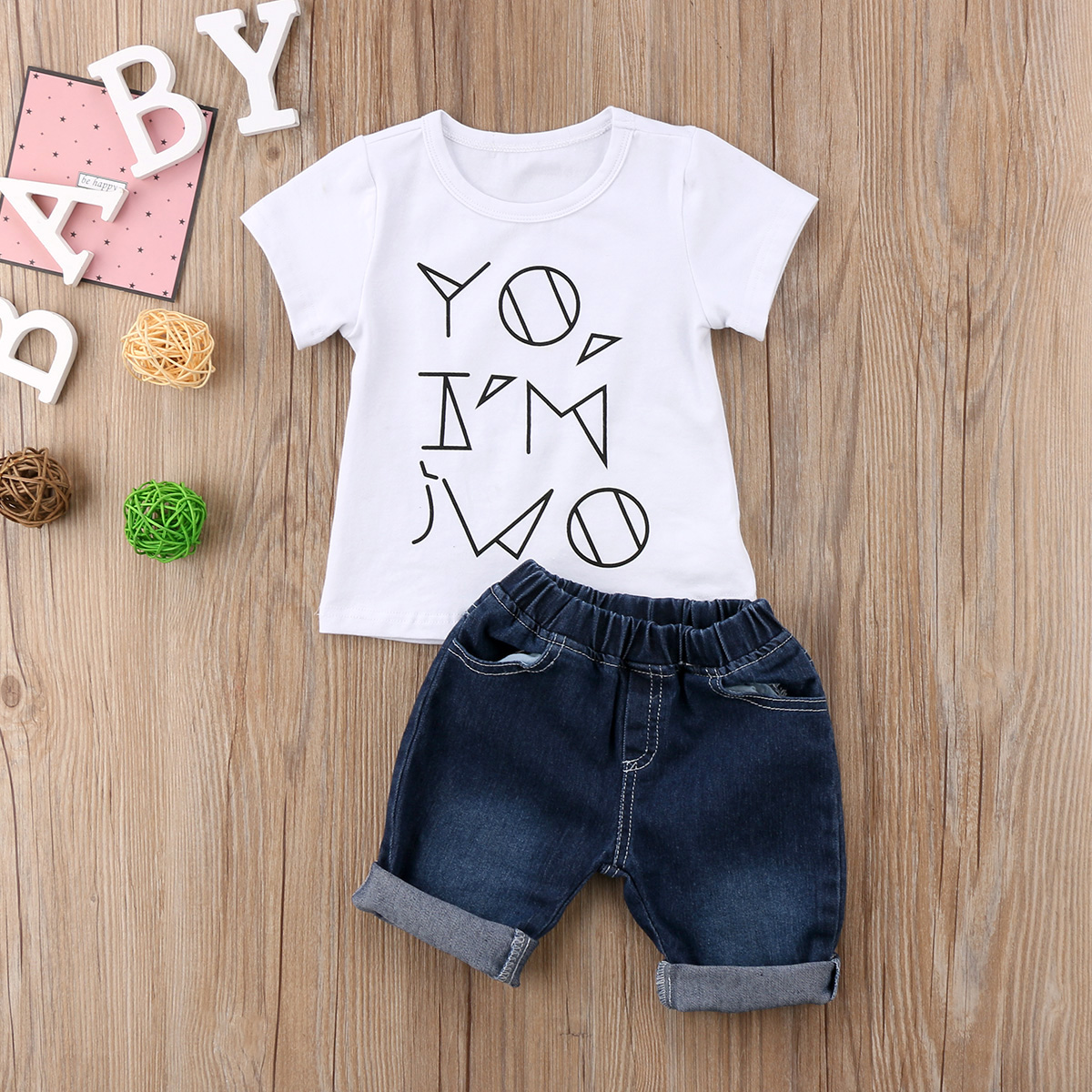 2PC Pudcoco Toddler Baby Boys White Color Cool Short Sleeve T-shirt+Denim Blue Pants Fashion Clothes Sets 6M-4Y