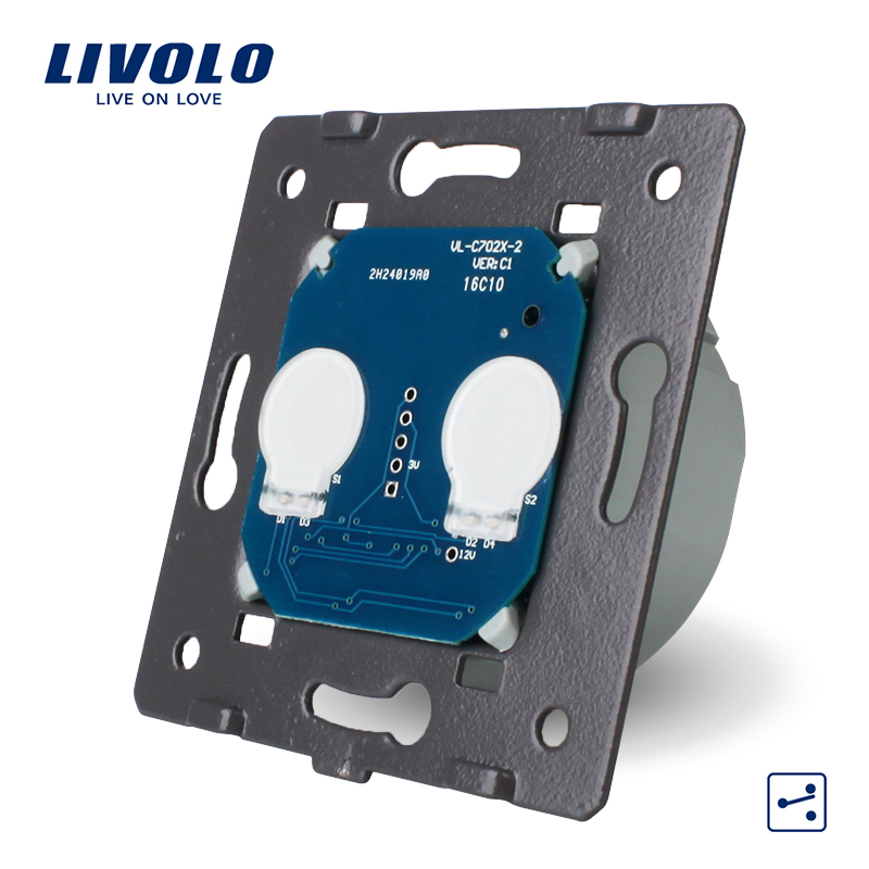 Interruptor de Base de contacto Livolo EU Standard, CA 220 ~ 250 V, interruptor de control de Vía 2 Gang 2 sin Panel de vidrio, VL-C702S