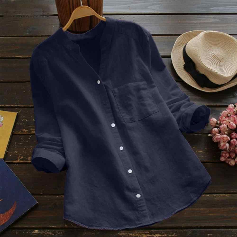 Dioufond 新綿 2019 のシャツ高品質女性ブラウス V ネックロングスリーブソリッドブルーシャツスリム女性トップス