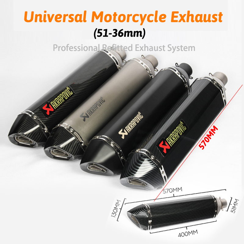 570mm lange flucht de moto moto rcycle schalldämpfer rohr moto gp cbr cqr yzf Akrapovic zubehör ktm 36- 51mm R1 250cc 350cc 600cc
