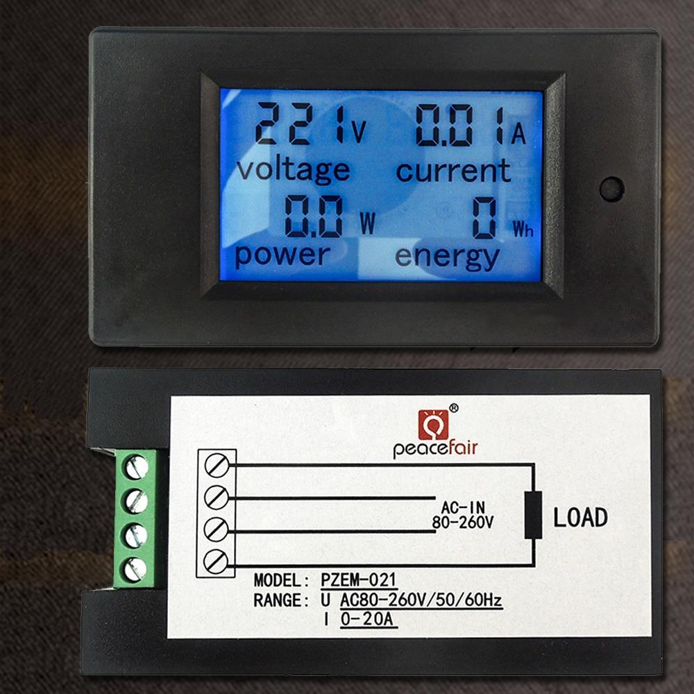 AC 80V-260V 20A 4 in 1 Digital LCD Display Digital Current Voltmeter Ammeter Power Energy Multimeter Panel Tester Meter Monitor ...