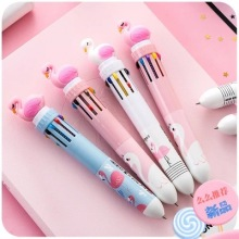 30pcs cartoon multi-color silicone  flamingo ballpoint pen 36pcs ten-color unicorn press