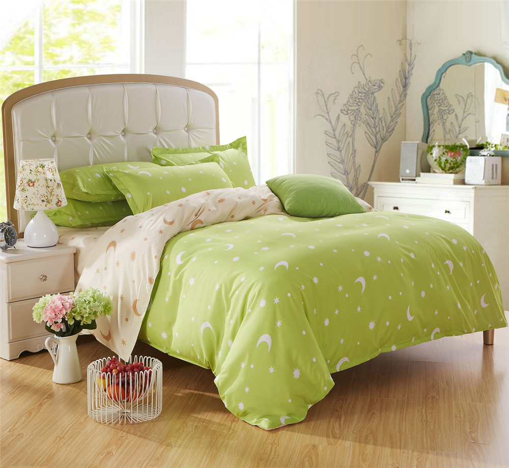 bright comforter sets promotionshop for promotional bright  - bright green bedding bed sets queen king twin kids  pcs star moon quiltcomforter duvet cover scenic bed sheets linens