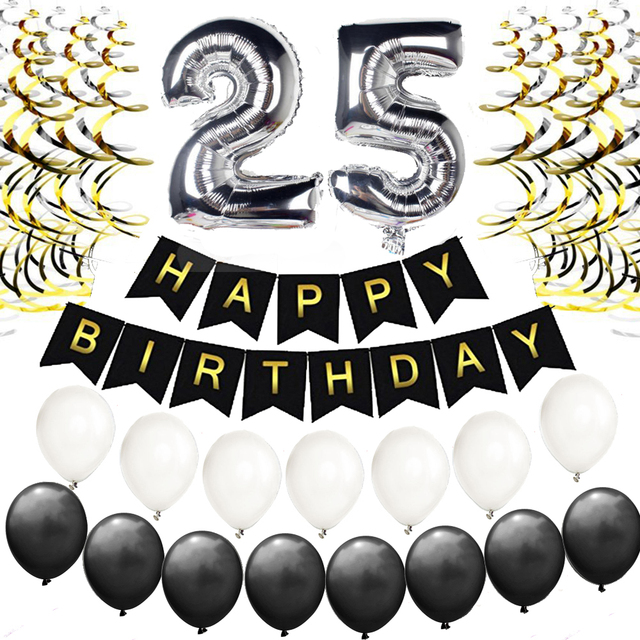 25th 30th 35th 40th 50th Birthday Decorations Kit Happy Banner Foil Latex Balloons Perfect 25 Years Old Party Supplies