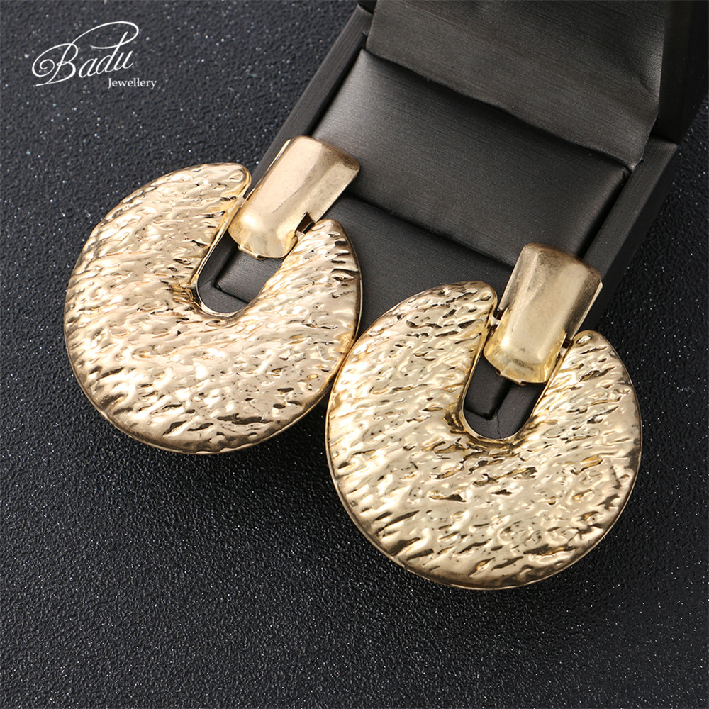 Badu Big Punk Stud Earring Women Vintage Jewelry Frosted Gold/Silver Earrings 2019 New Arrival Gift for Girls
