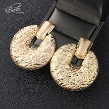 Badu Big Punk Stud Earring Women Vintage Jewelry Frosted Gold/Silver Earrings 2019 New Arrival Gift for Girls