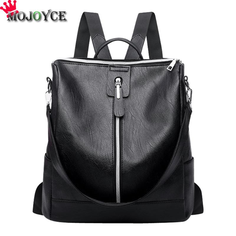 Simple Solid Zipper Shoulder Backpack Women Girls PU Leather Leisure Small Schoolbag Female Pure Color Luxury Backpack Mochila simple v neck cap sleeve pure color spliced blouse for women