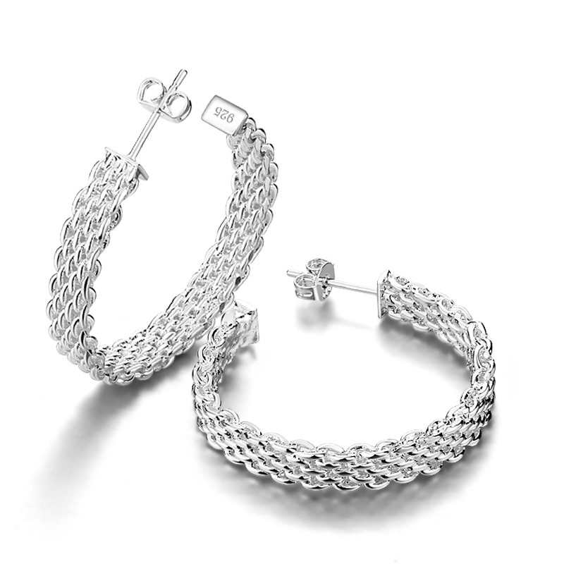 Fashion personality mesh earrings. 100% silver ring earrings for women. Solid 925 silver jewelery girl jewelry. Christmas gift