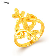 Simple Design Leaf Finger Ring For Female 24k Gold Filled Luxury Gold Ring Classic Fashion Jewelry 2