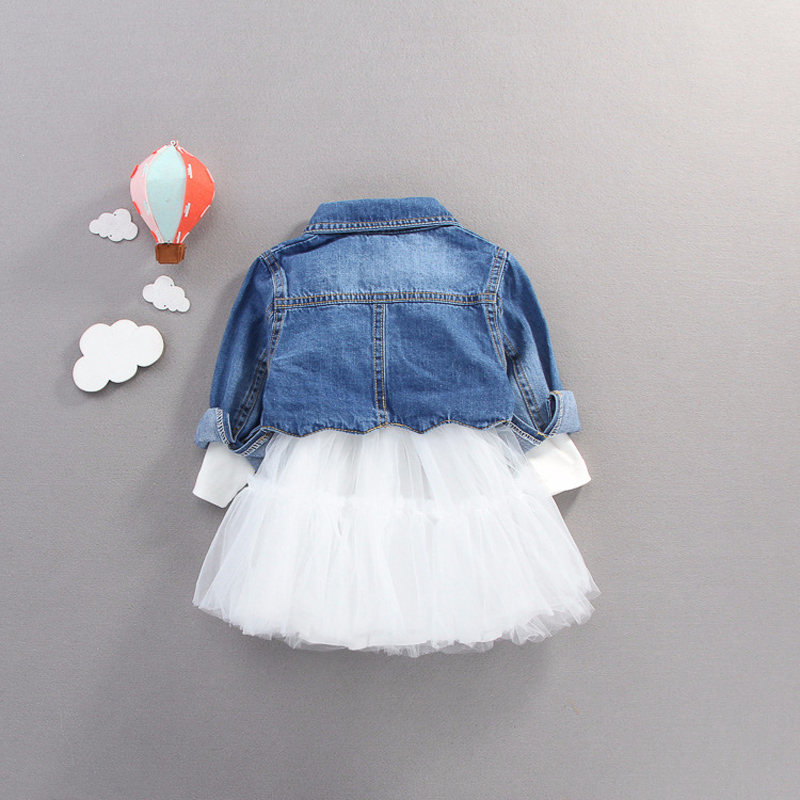 Image 2 - Fall infant Baby Girls clothes outfits casual sets denim jacket + tutu dress suit for newborn baby girls clothing birthday sets-in Clothing Sets from Mother & Kids