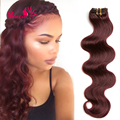 """#99J Wine Red Burgundy 16""""-24"""" 7pcs Body Wave Clip in Remy Human Hair Extensions Full Head 7pcs/set Brazilian Clip in Extensions"""