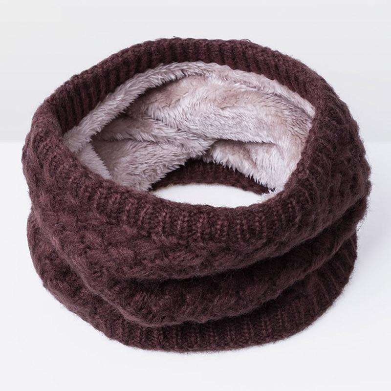 Зимний шарф для женщин, мужчин, детей, утолщенный шерстяной воротник, шарфы для девочек, шейный шарф, хлопок, унисекс, вязаный шарф-кольцо - Цвет: E