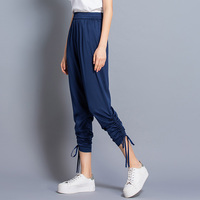 100% Silk Pants Women Simple Design Solid Elastic Waist Pockets Harem Trousers New Fashion Europe and American Style 2019