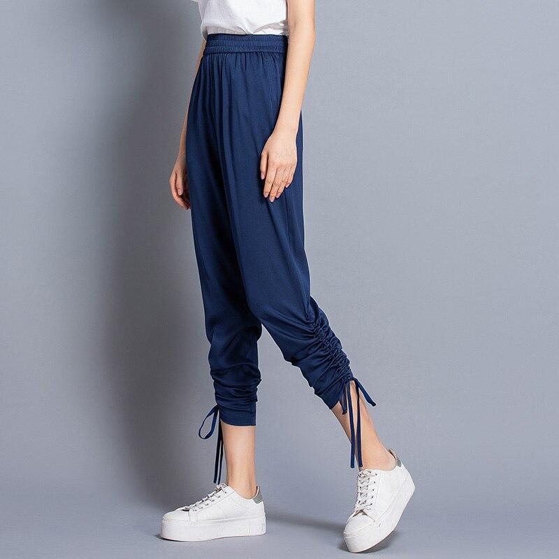 100% pantalons en soie femmes conception Simple solide élastique taille poches Harem pantalon nouvelle mode Europe et Style américain 2019