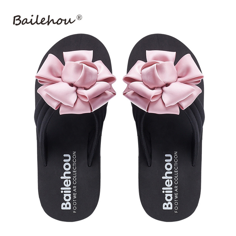 Women High Heel Slippers Summer Flower Beach Flip Flops Shoes Home Female Slides Woman Outdoor Lady Slippers Casual Wedges Shoes new chinese ethnic style high heels string bead wedges slippers genuine cow leather flip flops woman summer casual shoes 34 39