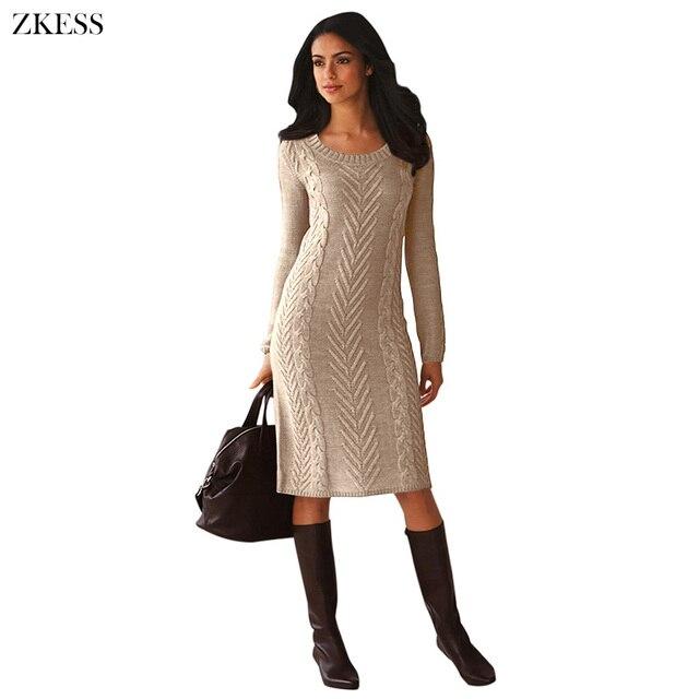 da6172d3986 Zkess Women Knitted Texture Sweater Dress Fashion Causal Long Sleeves O Neck  Midi Dress for Autumn Winter LC27772