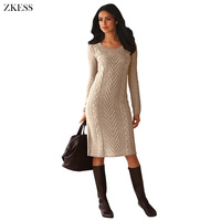 Zkess Women Knitted Texture Sweater Dress Fashion Causal Long Sleeves O Neck Midi Dress for Autumn Winter LC27772