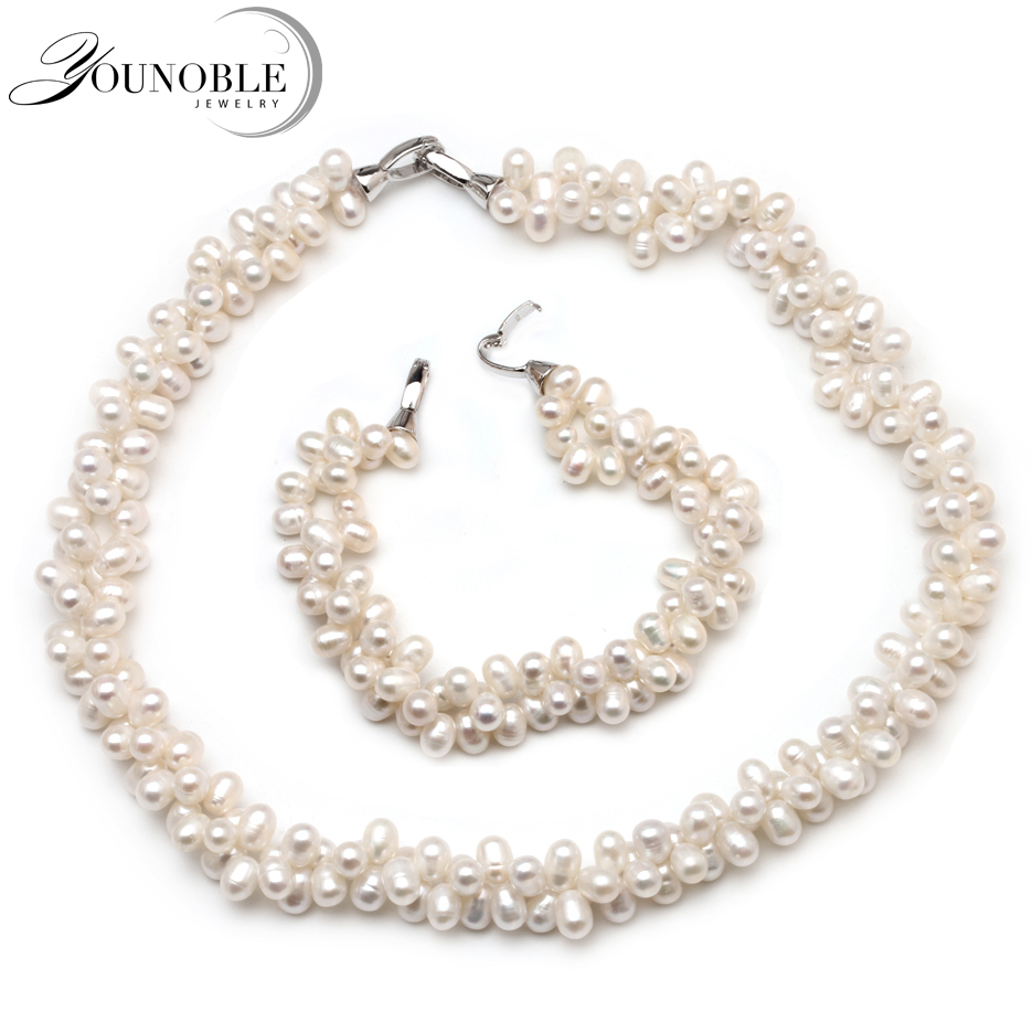 Pearl Jewelry Set Multilayer Necklace Bracelet for Women,Double Natural Freshwater Pearl Sets Choker Necklace Sets Trendy Girls sweet rhinestone and faux pearl embellished floral double layered bracelet for women