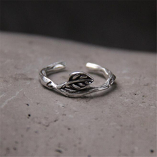 Vintage Authentic 925 Sterling Silver Rattan Leaf Open Ring Adjustable Band Ring for Women & Man Fine Jewelry 7MM 1.90G цена и фото