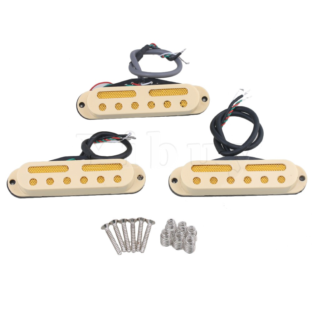 Yibuy Cream Yellow 48/50/52mm Electric Guitar Pickup Four Wire Single Coil Pickup to Humbucker Pack of 3 yibuy gold vintage lipstick tube pickup for single coil electric guitar