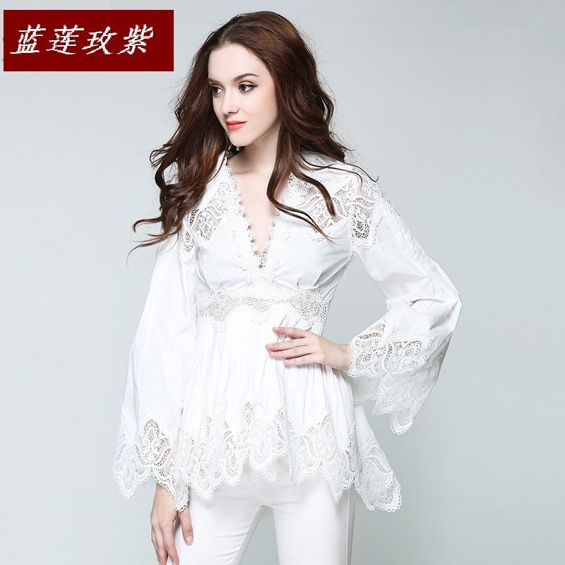 2019 mode féminine sexy v-necck dentelle blouses chemises femmes vêtements couleur Pure évider flare manches volants blouse pour dame