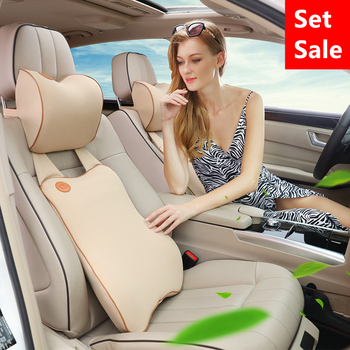 Car Seat Support Memory Cotton With Car Pillow Set Comfortable Hearrest Lumbar Cushion Soft Back Car Accessories for VW BMW Etc.
