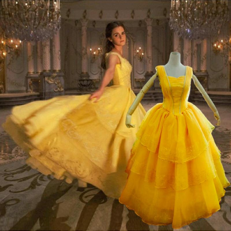 2017 Beauty And The Beast Costumes Princess Belle Dresses Adult Fancy Cosplay Halloween Costume For Women Yellow Fantasias Dress